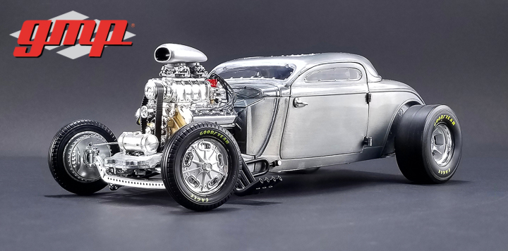 GMP 1/18 1934 Blown Altered Coupe - Raw Steel