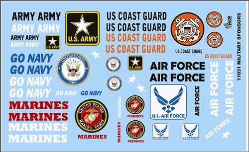 Gofer Racing Armed Services Model Car Decal Sheet 1/24