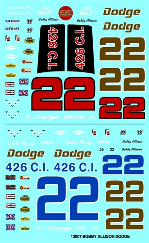 Gofer Racing Bobby Allison Model Car Decal Sheet 1/24