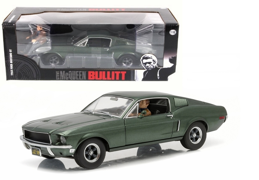 Greenlight 1/18 Bullitt 1968 Highland Green w/McQueen Figure Dri