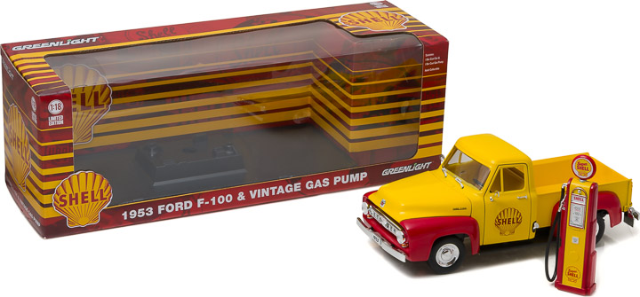 Greenlight 1/18 1953 Ford F-100 Shell Oil with Vintage Shell Gas