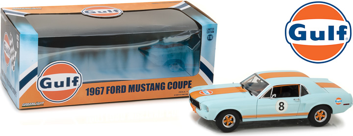Greenlight 1/18 1967 Ford Mustang Coupe Gulf Oil - Blue w/Orange