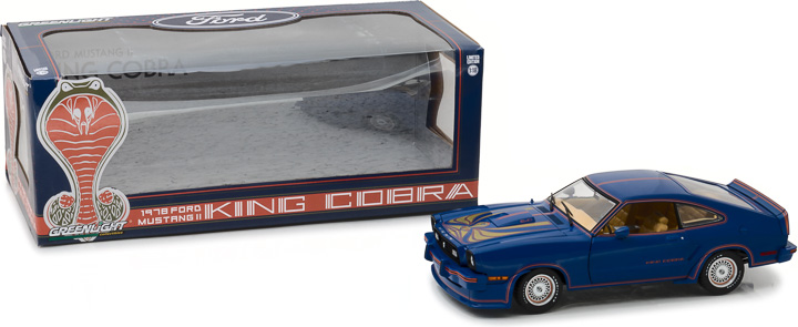 Greenlight 1/18 1978 Ford Mustang II King Cobra - Blue, Red and