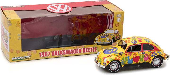 Greenlight 1/18 1967 Volkswagen Beetle Right-Hand Drive - Hippie