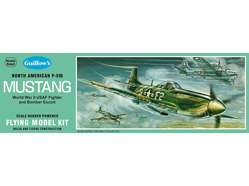 Guillows P-51D Mustang Rubber Powered Model Kit (1)