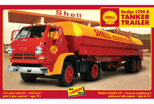 Lindberg Dodge L700 with Shell Tanker 1/25 Model Kit (Level 3)