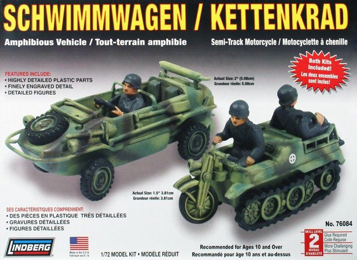Lindberg Kettenkrad Schwimmerwagon 1/72 Model Kit (Level 2)
