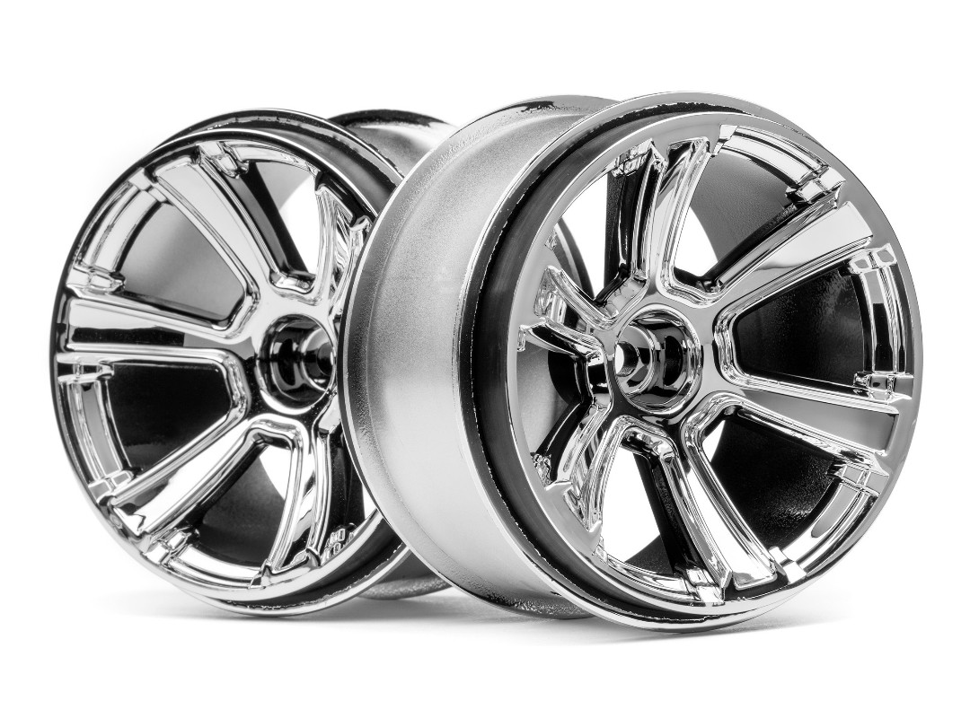HPI 6-Shot Mt Wheel (Chrome/2Pcs)