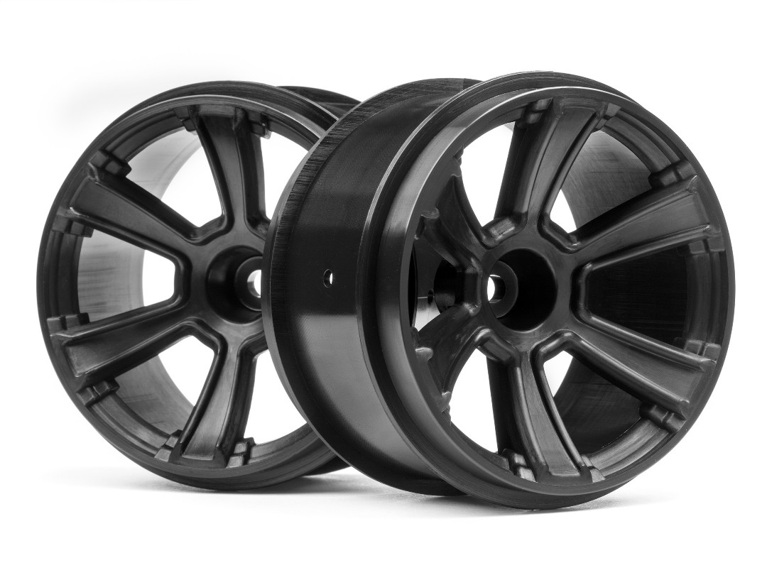 HPI 6-Shot Mt Wheel (Black/2Pcs)