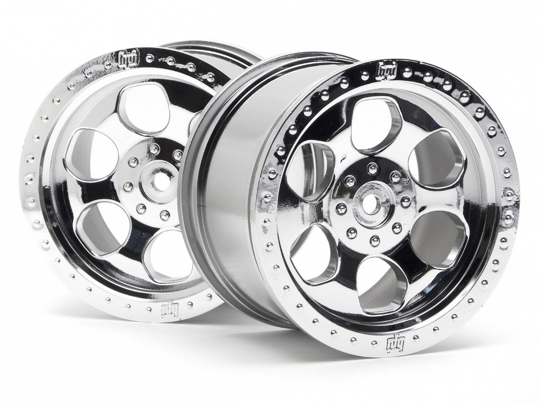 HPI 6 Spoke Wheel Shiny Chrome/2Pc 83X56Mm/Savage 14Mm Hex Hub