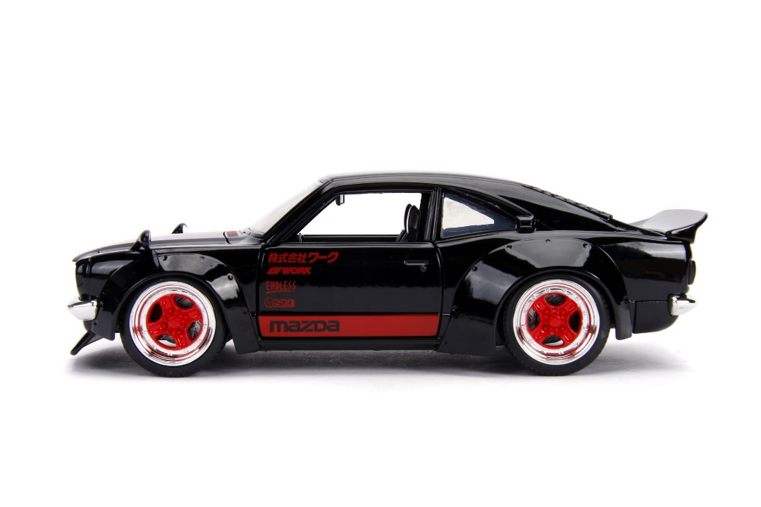 """JDM Tuners Metals Die Cast"" 1/24 1974 Mazda RX-3 - Glossy Black - Click Image to Close"