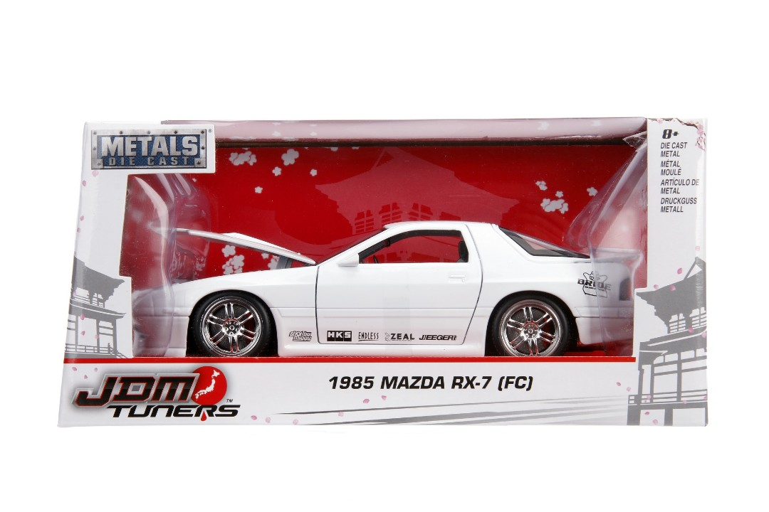 """JDM Tuners Metals Die Cast"" 1/24 1985 Mazda RX-7 RC - Glossy Wh"
