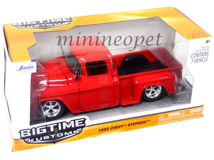 """BIGTIME Kustoms"" 1/24 1955 Chevy Stepside Pickup - Glossy Red"