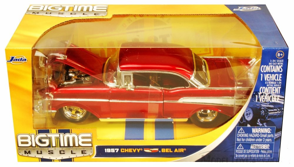 """BIGTIME Muscle"" 1/24 1957 Chevy Belair - Glossy Red"