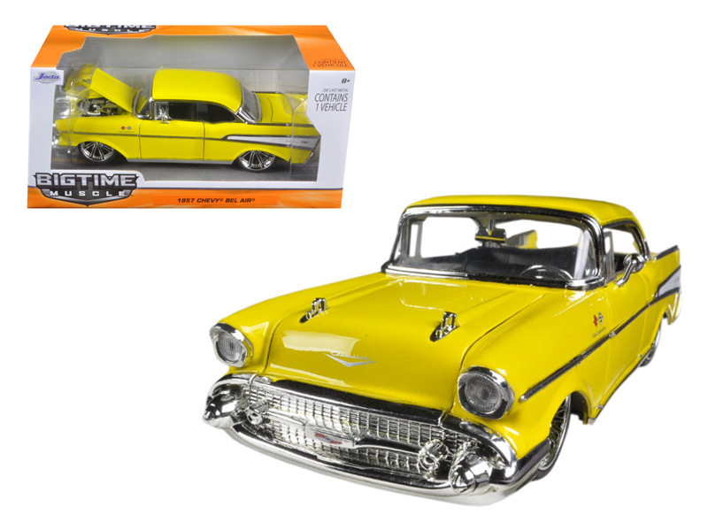 """BIGTIME Muscle"" 1/24 1957 Chevy Belair - Glossy Yellow"