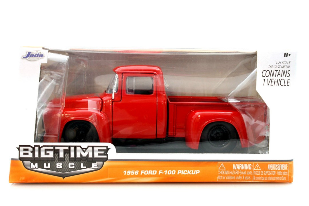 """BIGTIME Muscle"" 1/24 1956 Ford F100 Pickup - Glossy Red"