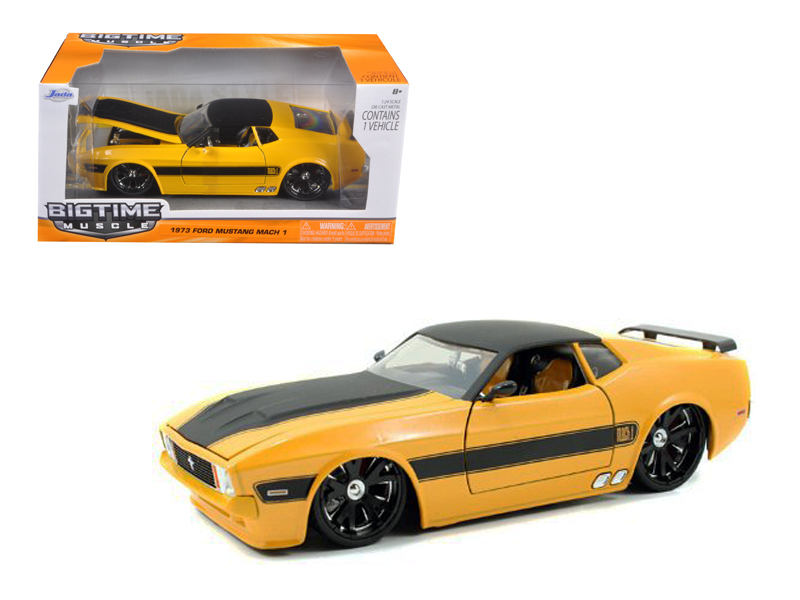 """BIGTIME Muscle"" 1/24 73 Ford Mustang Mach 1 - Yellow"