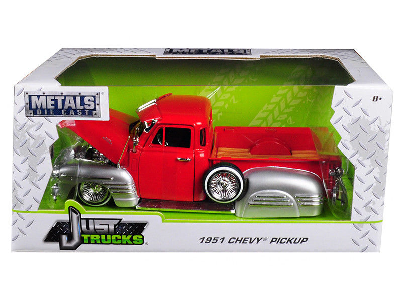 """Just Trucks"" 1/24 1951 Chevy Pickup - Glossy Red w/ Glossy Silv"