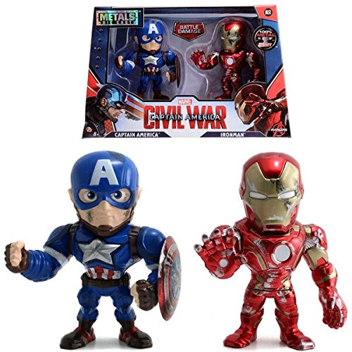 "Metals Marvel 4"" Figure Twin Pack Captain America & Iron Man"