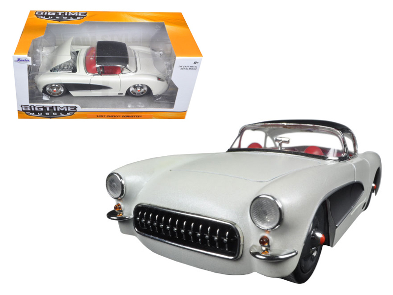 """BIGTIME Muscle"" 1/24 1957 Chevrolet Corvette - Primer Pearl Whi"