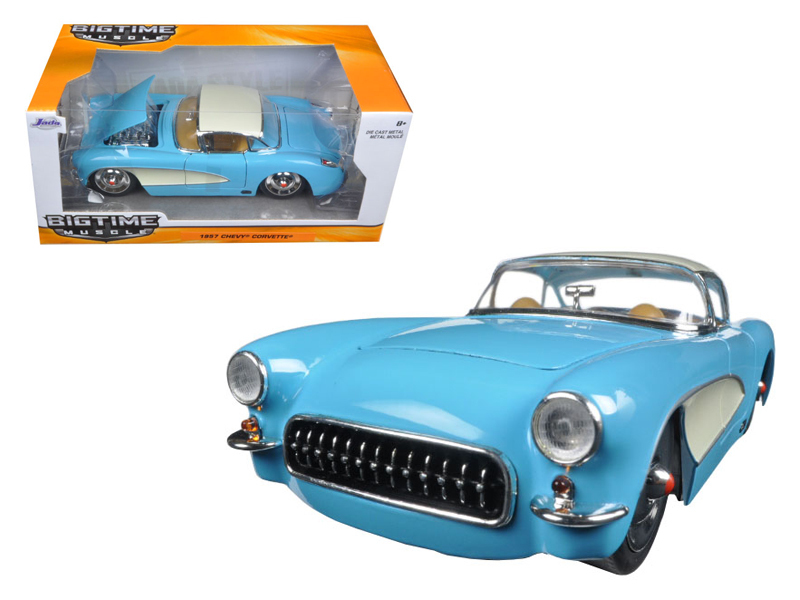 """BIGTIME Muscle"" 1/24 1957 Chevrolet Corvette - Sky Blue"