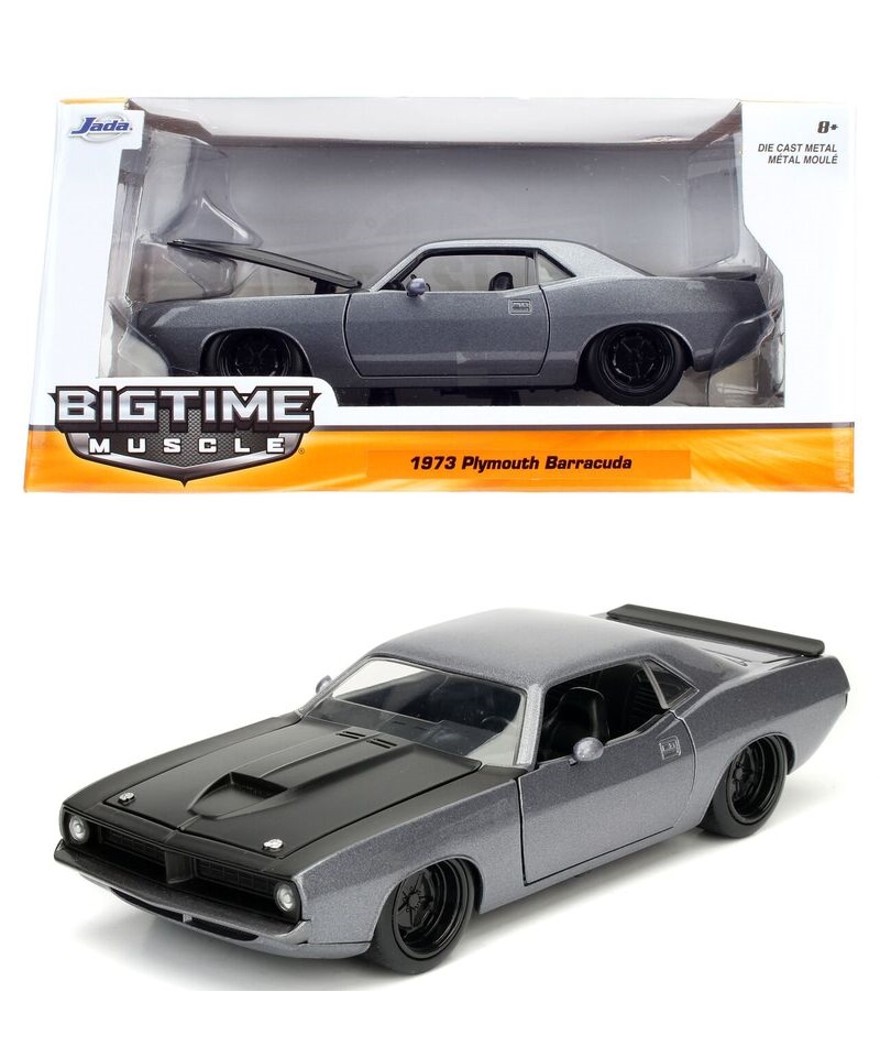 """BIGTIME Muscle"" 1/24 1973 Plymouth Barracuda Candy Charcoal Gre"