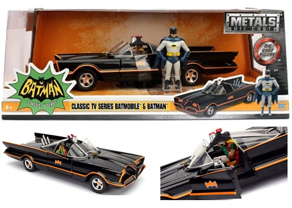 """Metals Die Cast"" 1/24 TV Classic1966 Batmobile w/ Batman"