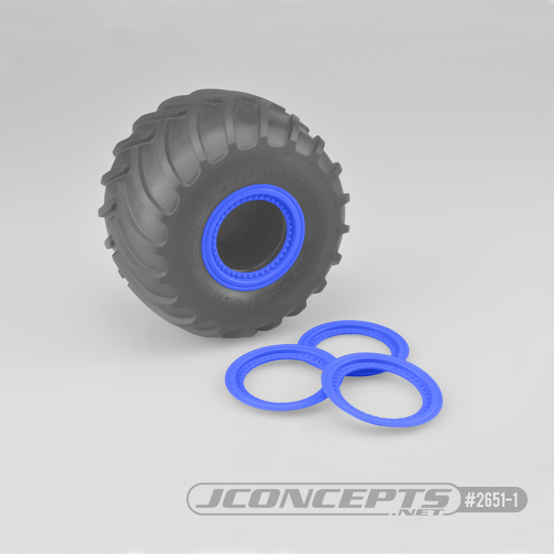 JConcepts Tribute wheel mock beadlock rings - blue - glue-on