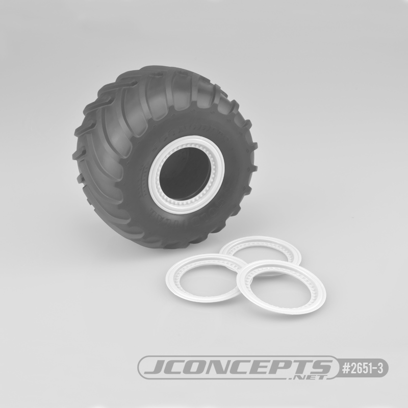 JConcepts Tribute wheel mock beadlock rings - white - glue-on