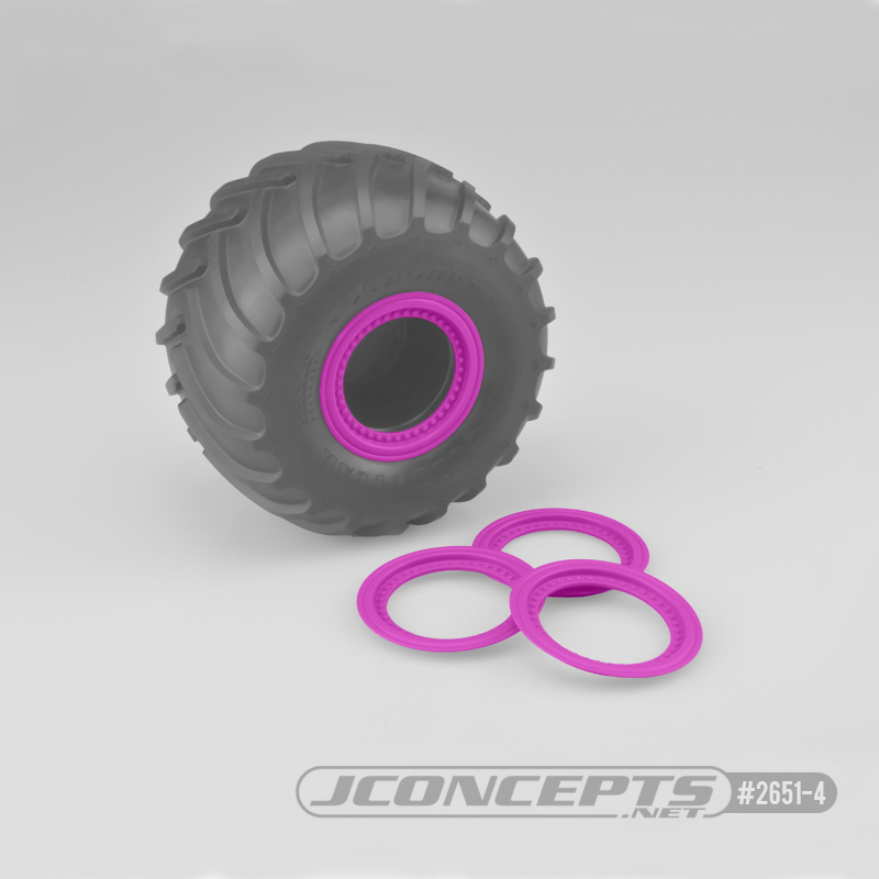JConcepts Tribute wheel mock beadlock rings - pink - glue-on