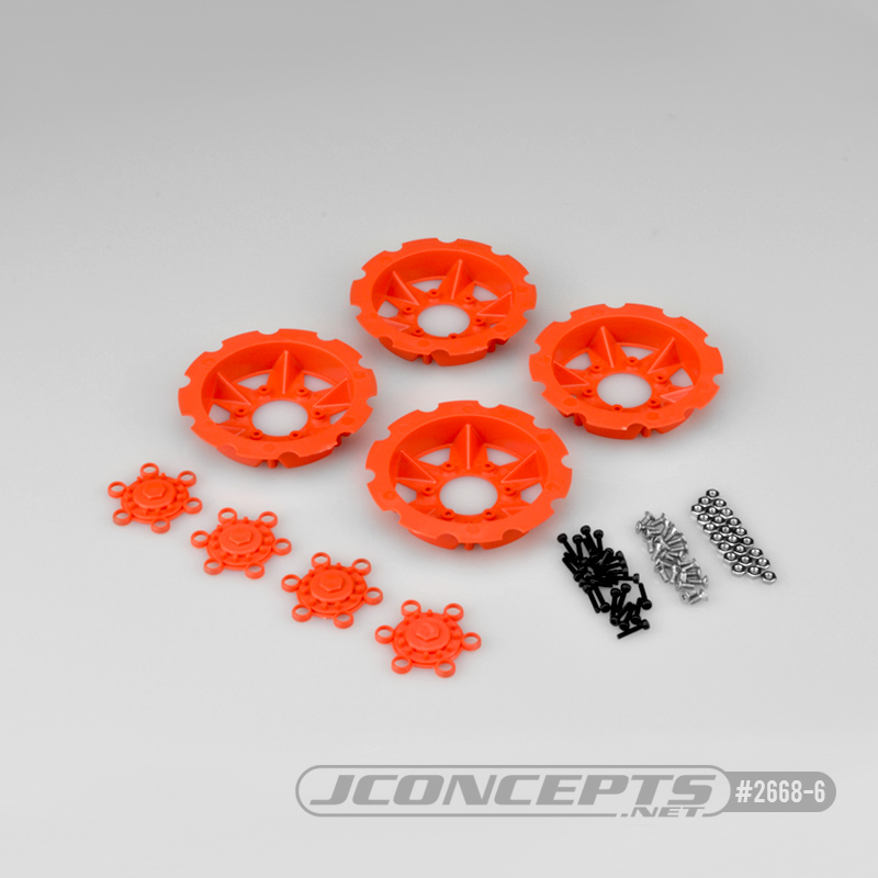 JConcepts Tracker wheel discs, 4pc - orange (Fits – #3379 Drag