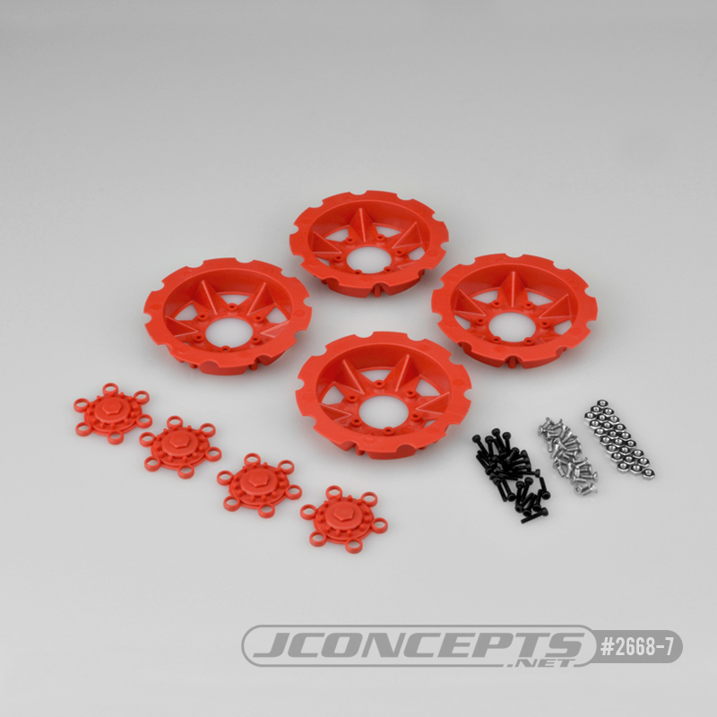 JConcepts Tracker wheel discs, 4pc - red (Fits – #3379 Dragon