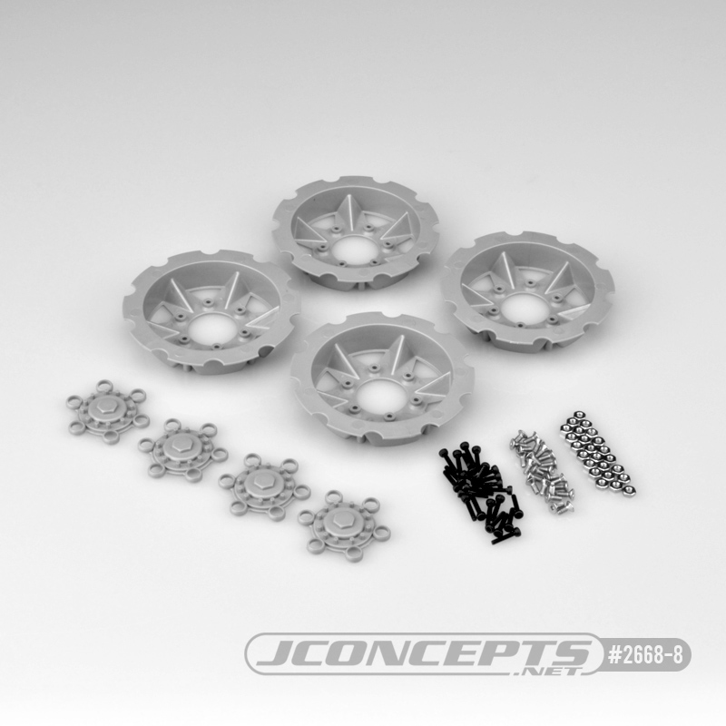 JConcepts Tracker wheel discs, 4pc - silver (Fits – #3379 Drag