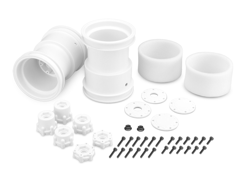 JConcepts 2.6in x 3.6in Monster Truck Wheel W/Adaptors (White)