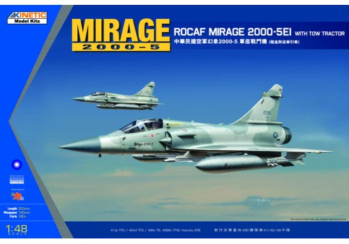 Kinetic 1/48 ROCAF Mirage 2000-5EI with Tow Tractor
