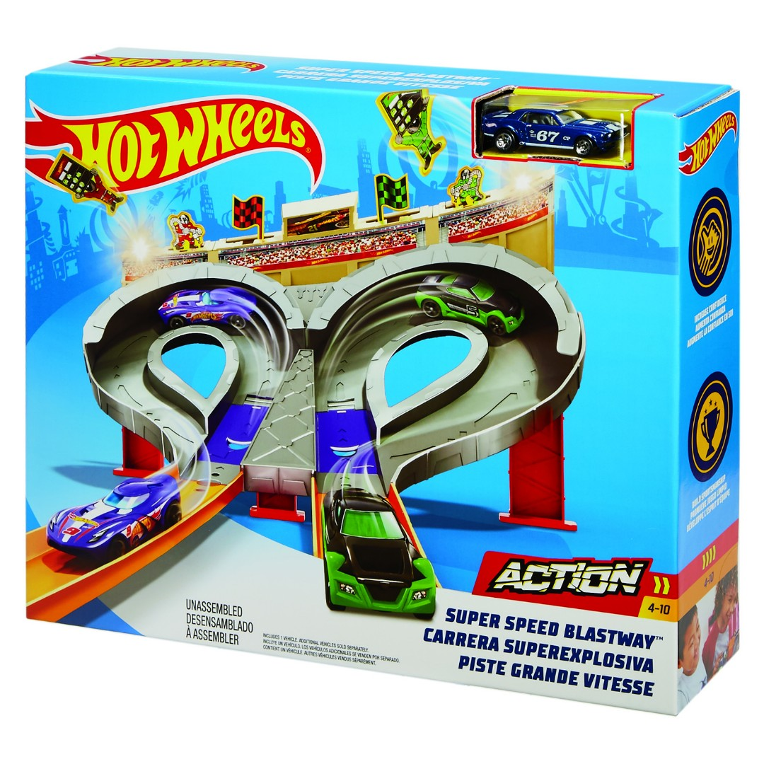 Hot Wheels Super Speed Blastway Track Set (4 Pkg/Box)