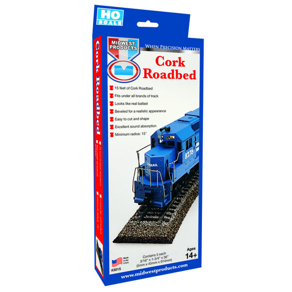 "Midwest N-Scale Cork Roadbed Strip 36"" (25)"