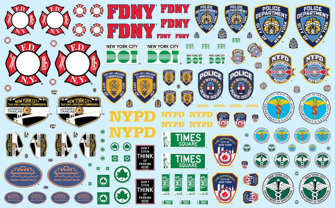 NYC Auxiliary Service Logos Decal Pack (Can be used on any 1/25