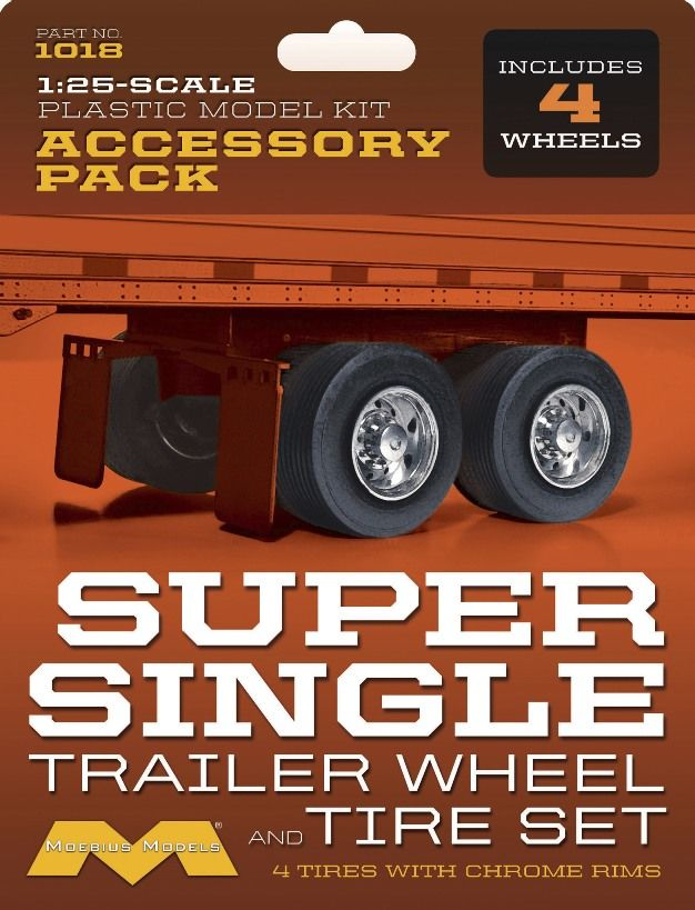 Moebius 1/25 Super Single Trailer Wheels/Tires Set 4 pack