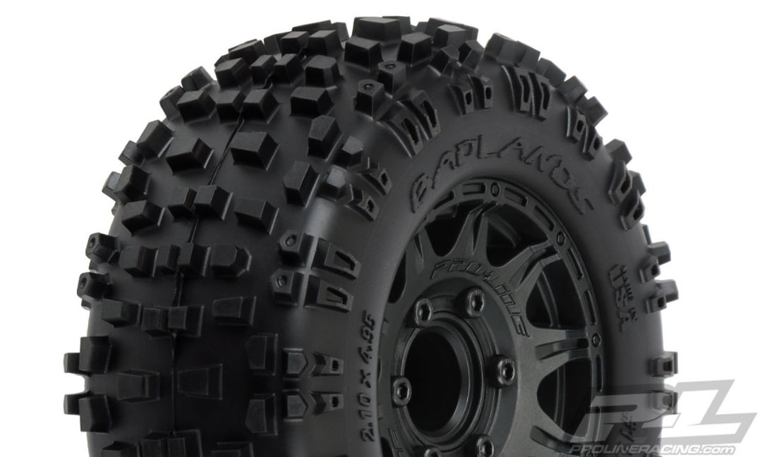 "Pro-Line Badlands 2.8"" All Terrain Tires Mounted on Raid Black"