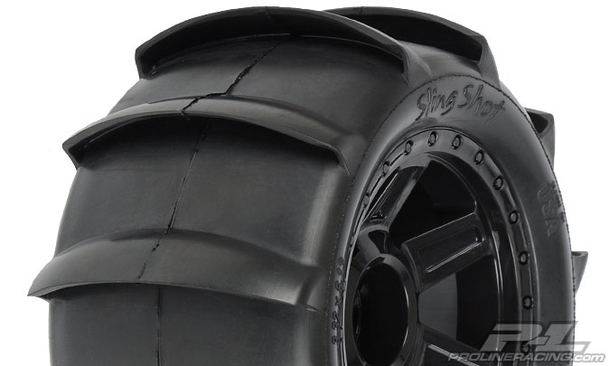 "Pro-Line Sling Shot 3.8"" Tire 1/2"" Offset Wheel (2) (Black)"