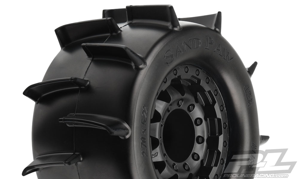 "Pro-Line Sand Paw 2.8"" All Terrain Tires Mounted on F-11 Black 1"