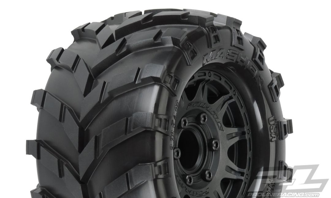 "Pro-Line Masher 2.8"" All Terrain Tires Mounted on Raid Black 6x"
