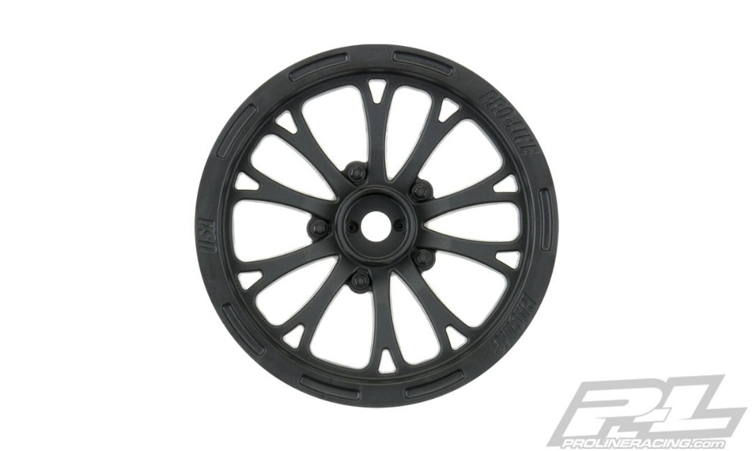 "Pro-Line Pomona Drag Spec 2.2"" Black Front Wheels (2) for Slash"