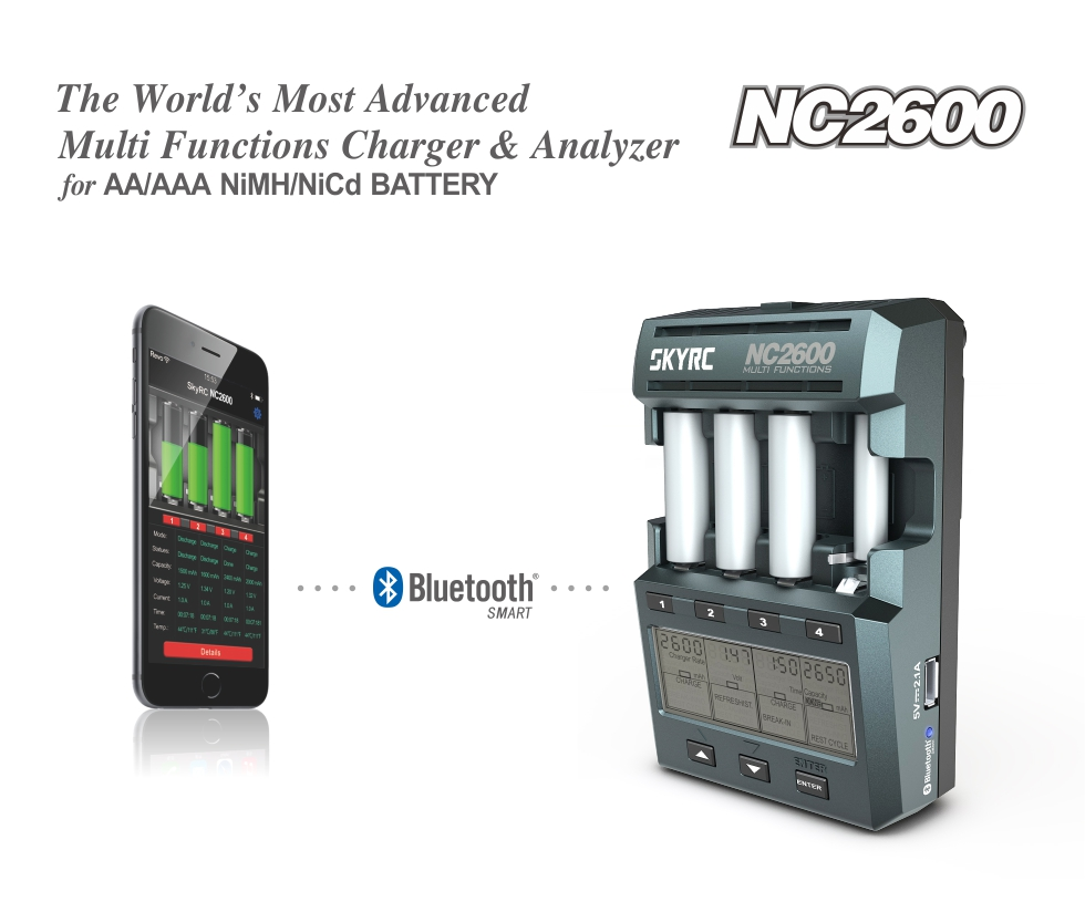 SKYRC NC2600 AA and AAA Battery Charger and Analyzer