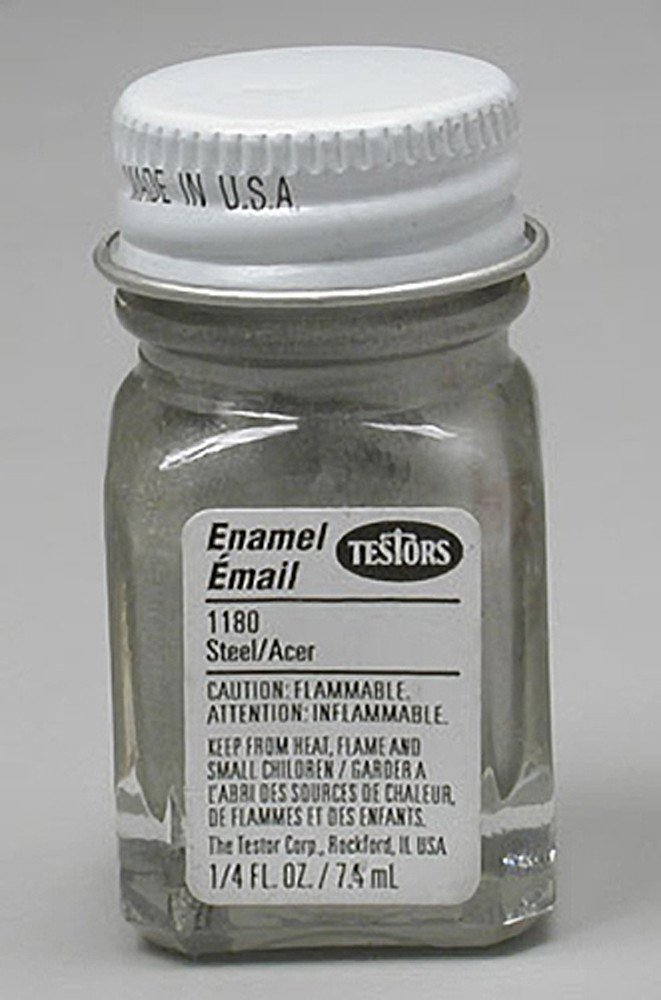 Testors Flat Steel Enamel 1/4 oz Bottle (6)