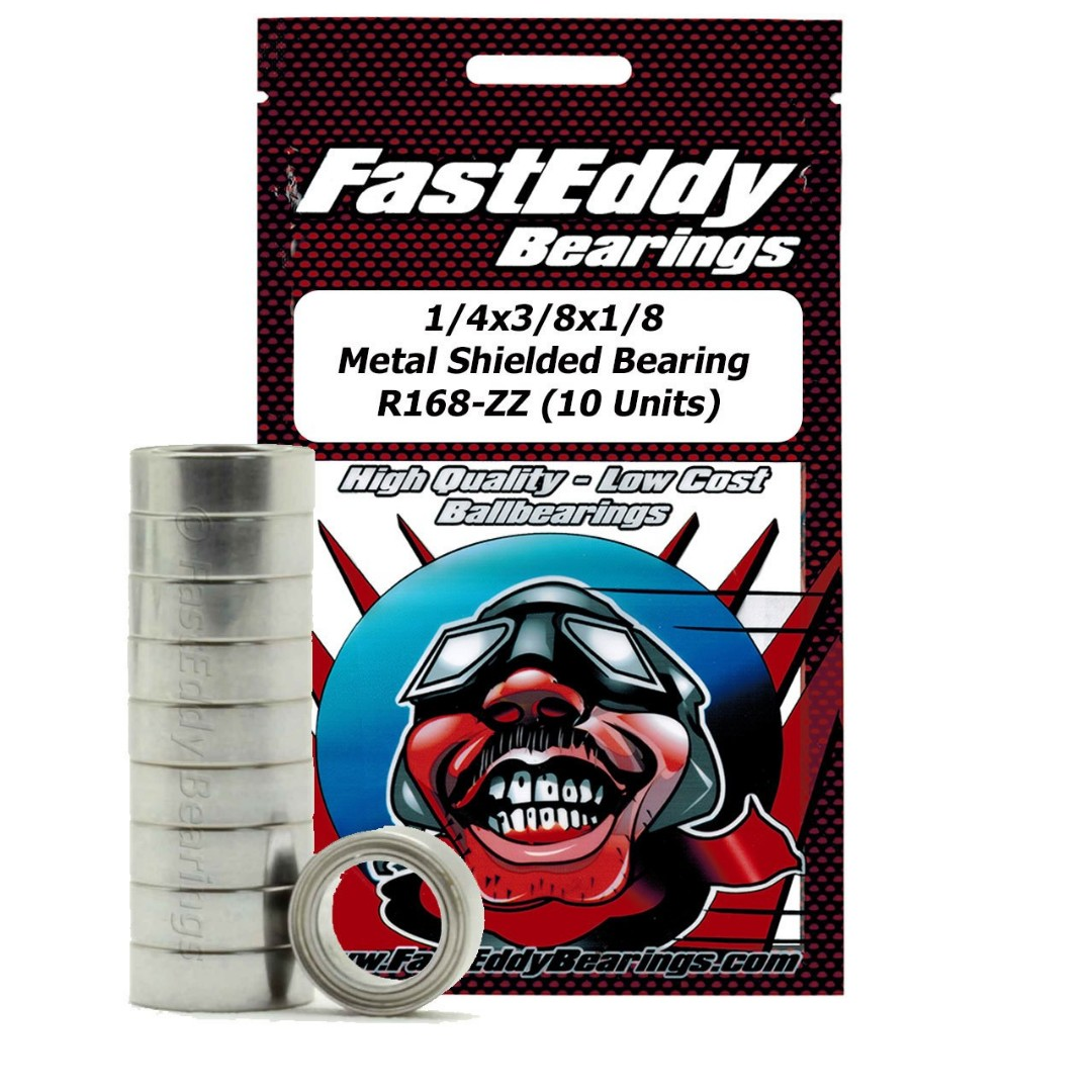 Fast Eddy 1/4x3/8x1/8 Metal Shielded Bearing R168-ZZ (10 Units)