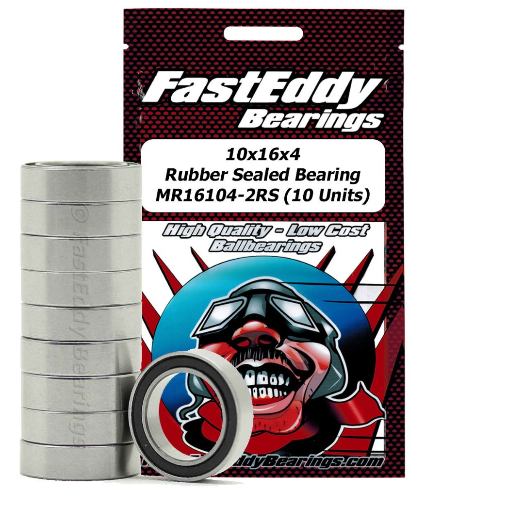 Fast Eddy 10x16x4 Rubber Sealed Bearings MR16104-2RS (10)