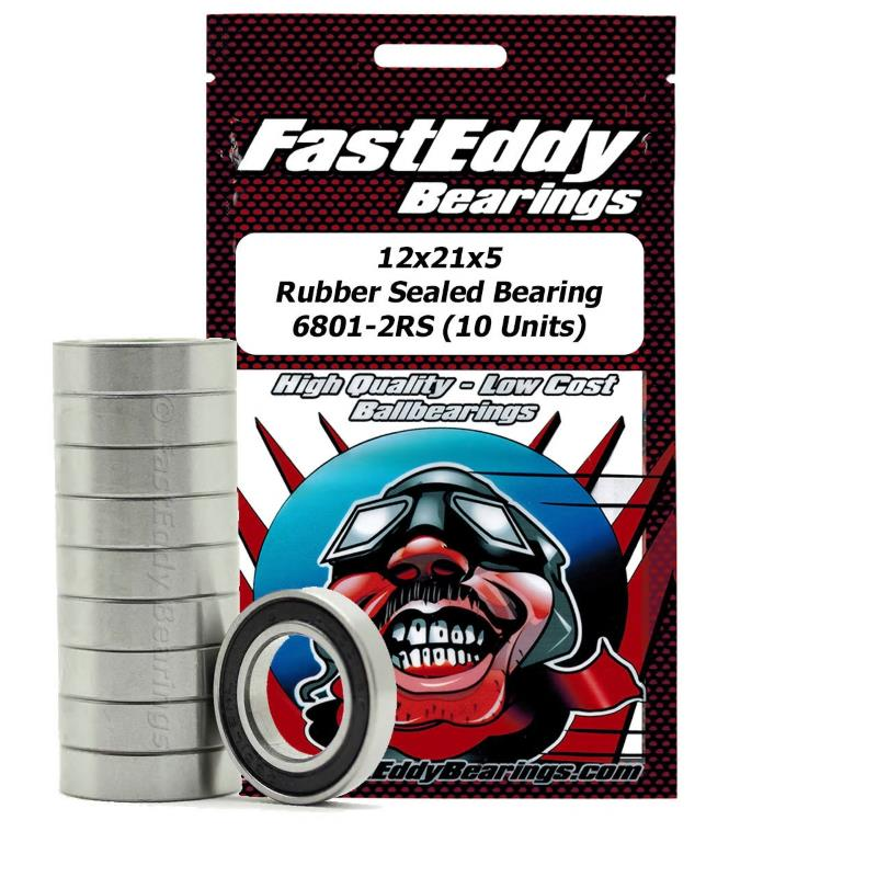 Fast Eddy 12x21x5 Rubber Sealed Bearing 6801-2RS (10)