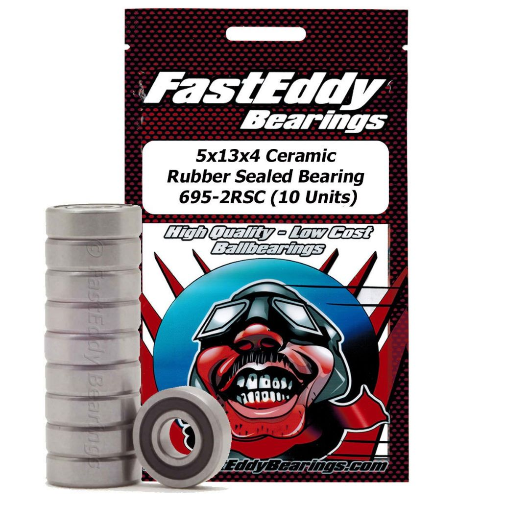 Fast Eddy 5x13x4 Ceramic Rubber Sealed Bearing 695-2RSC (10)